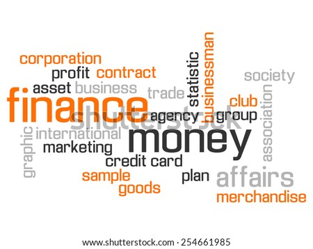 FINANCE WORLD CLOUD CONCEPT TEST AND MORE ORANGE - stock photo