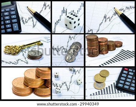 finances collage - stock photo