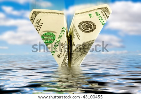finances crisis. business bankrupt. money plane crash in water - stock photo