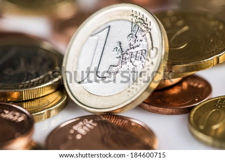 Finances. Euro coins on the table