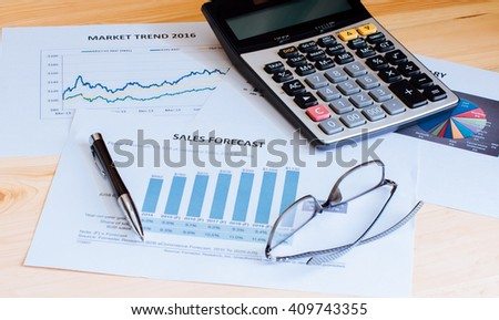 Financial accounting sales forecast graphs analysis - stock photo