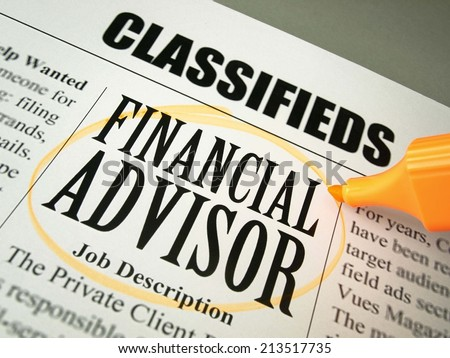 Financial Advisor (Classified Ads)   - stock photo
