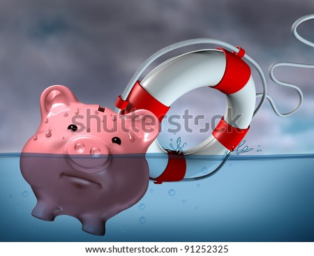 Financial Aid and rescue from debt problems for investments above water as a drowning pink piggy bank sinking in blue water with a life preserver as a symbol of urgent help from bankruptcy. - stock photo