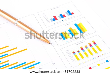 Financial analysis with the graph and data of industrial growth. - stock photo