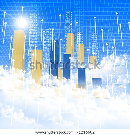 financial and business chart and graphs as symbols of growth - stock photo