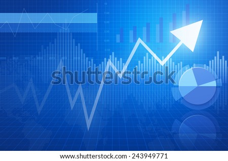 Financial and business chart and graphs with arrow head - stock photo