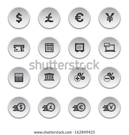 Financial and money icon set, round shape, raster version - stock photo