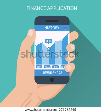 Financial application. Smart phone with business graph in hand. Forex index, economy report