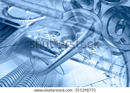 Financial background in blues with buildings, ruler, graph and pen. - stock photo