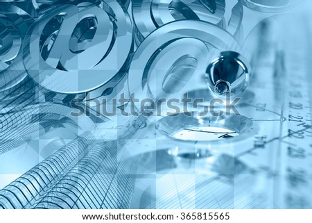 Financial background in blues with mail signs, building, graph and pen. - stock photo