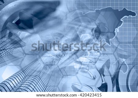 Financial background in blues with map, buildings, gear and mail symbols. - stock photo