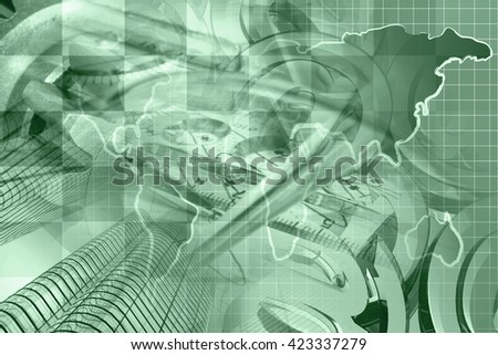 Financial background in greens with buildings, graph and map. - stock photo