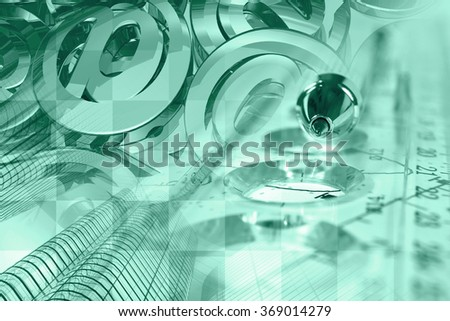 Financial background in greens with mail signs, building, graph and pen. - stock photo