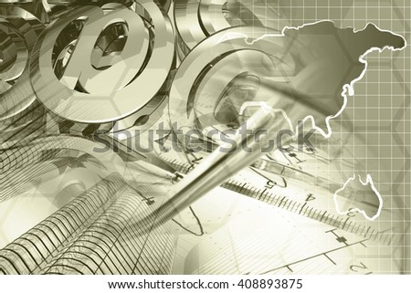 Financial background in sepia with map, buildings, graph and pen. - stock photo