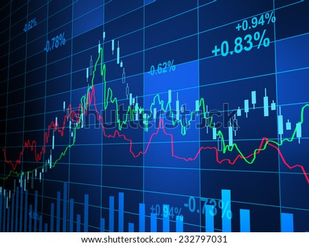 financial background with blur numbers, Digitally Generated Image. - stock photo