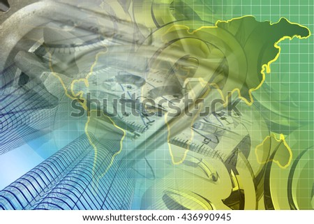 Financial background with map, buildings and mail signs. - stock photo