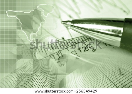 Financial background with map, buildings, graph and pen, sepia toned. - stock photo