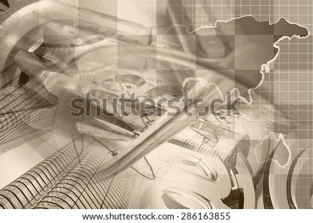 Financial background with map, calculator, graph and pen, sepia toned. - stock photo