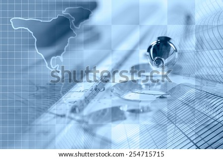 Financial background with map, ruler, buildings, graph and pen, blue toned. - stock photo
