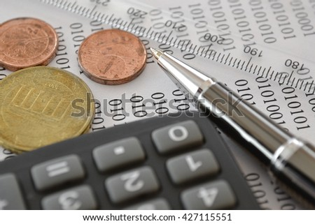 Financial background with money, calculator, digits and pen. - stock photo