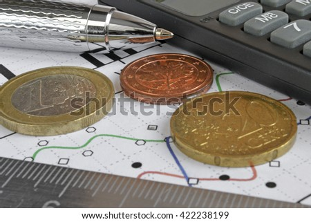 Financial background with money, calculator, ruler, graph and pen. - stock photo