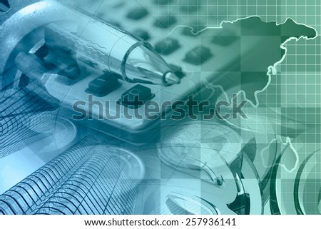 Financial background with money, calculator, table and pen,  in greens and blues. - stock photo