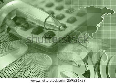 Financial background with money, calculator, table and pen, sepia toned. - stock photo