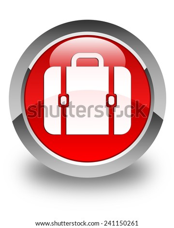 Financial bag icon glossy red round button - stock photo