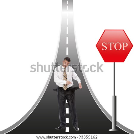 Financial bankruptcy creates obstacles in business - stock photo