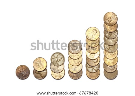 Financial bar graph made of US cents isolated on white - stock photo