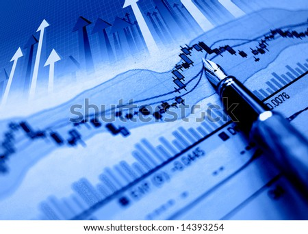 financial blue chart stat background and arrows - stock photo
