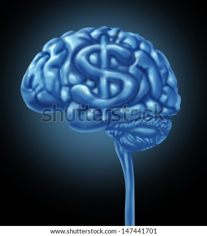 Financial brain business concept as a human thinking organ with a dollar symbol as part of the gray matter for strategy thinking to make and save money and intelligent budget management. - stock photo