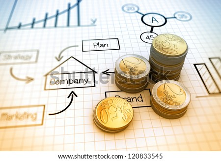 Financial business chart and coins - stock photo