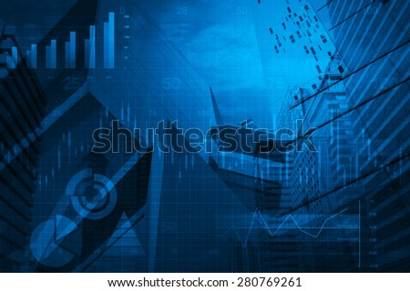 Financial business chart and graph on tower background, blue tone - stock photo