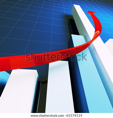 financial business stat and red arrow 3d - stock photo