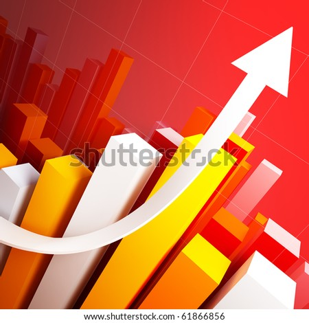 financial business stat and white arrow 3d