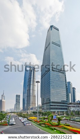Financial center skyscrapers in Shanghai
