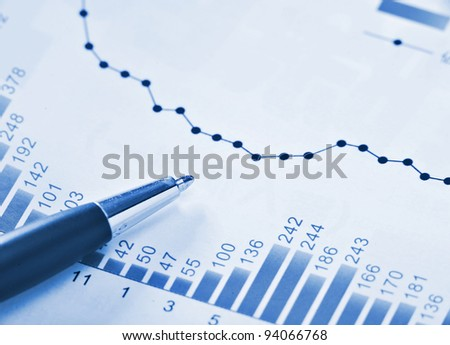 financial chart in blue - stock photo