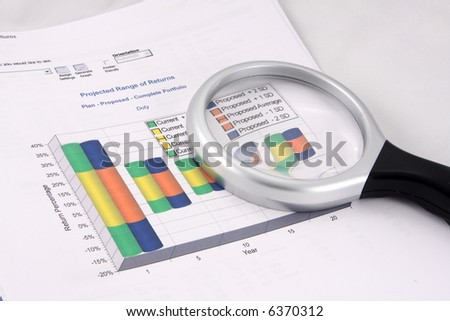 Financial chart showing projected ranges of returns on proposed investments. Magnifying glass rests on top.