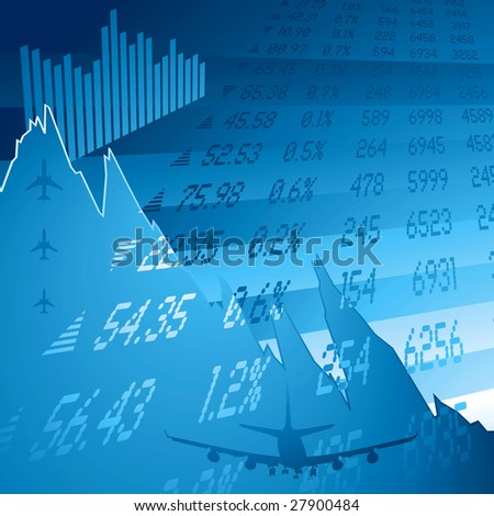 financial chart showing the credit crunch and stock figures - stock photo