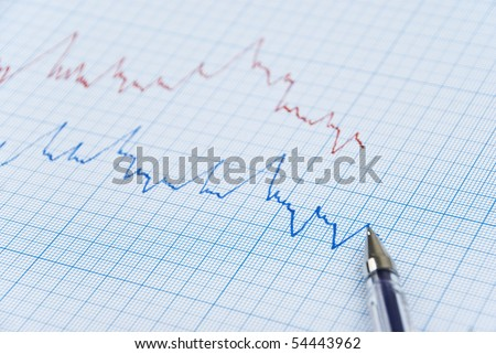 Financial chart shows  a graph in two colors red and blue  made on millimeter paper - stock photo