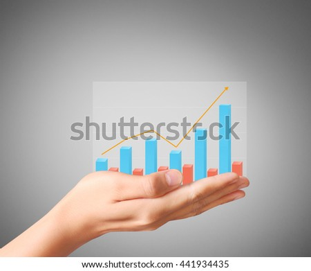 financial chart symbols coming from a hand - stock photo