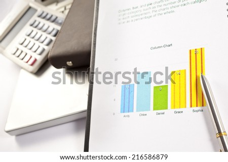 financial charts and graphs on the table,Office working area
