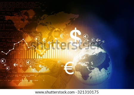 Financial charts and graphs with digital world  - stock photo