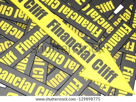 Financial cliff banner - stock photo