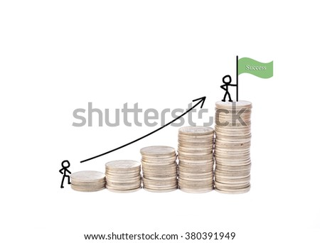 Financial coins concept stairs to success. - stock photo