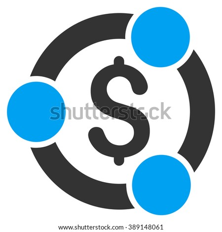 Financial Collaboration glyph icon. Style is bicolor flat symbol, blue and gray colors, white background. - stock photo