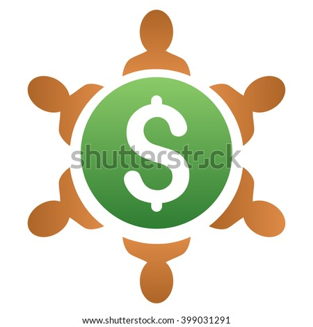 Financial Collaboration Round Table glyph toolbar icon for software design. Style is a gradient icon symbol on a white background. - stock photo