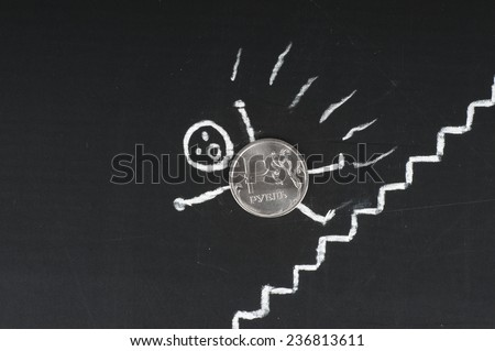 Financial collapse concept - frightened coin falls from ladders - stock photo