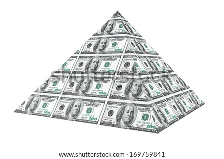 Financial concept. Abstract money pyramid on a white background - stock photo